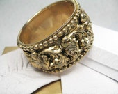 Wonderful Goldtone Wide Hinged Bangle Bracelet Cuff with Lots of Designwork