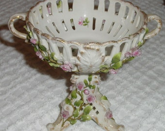 Antique Continental Porcelain Pedestal Footed Compote Candy Dish Victorian Style encrusted with  Pink Roses, Green Vines, Schierholz Germany
