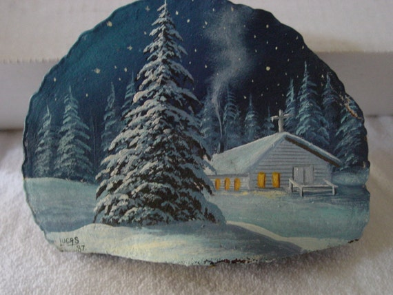 Vintage Handpainted Oil Painting on Oak Tree Knot, This Night before Christmas Scene is very unique rustic home decor