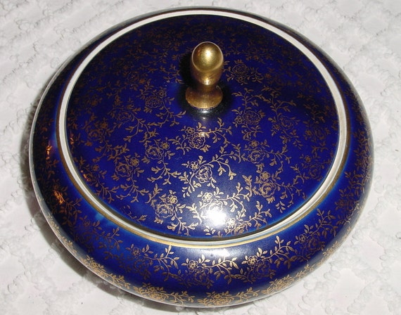 Vintage Cobalt Blue and Gilded Gold  Limoges Style Porcelain Covered Candy Dish or Vanity Box or  Lidded Jewelry Holder
