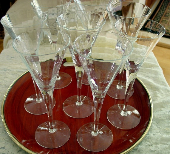 Crystal Champagne Flutes Set Of 8 Vintage Hand Blown Ribbed