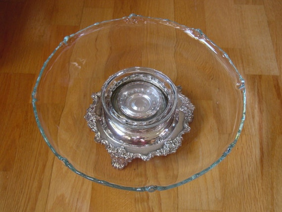 Antique English Signed Pedestal Silverplated Beaded Glass Lazy