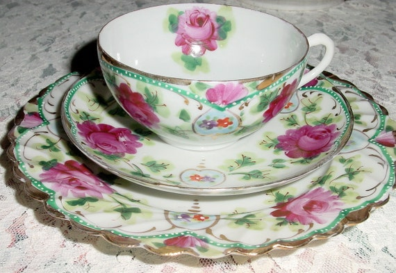 Antique Trio Tea Cup Set- Tea Cup, Saucer, Plate in Porcelain Hand Painted Pink and Red Roses-Gold Gilding