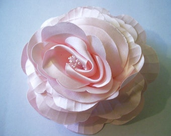 Pink Satin Flower Pin
