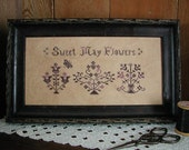Primitive Cross Stitch Pattern SWEET MAY FLOWERS