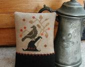 Primitive Cross Stitch  Pinkeep Pattern - Enchanted Crow
