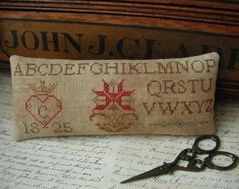 Primitive Cross Stitch Pinkeep Pattern - Chelsea's Pinkeep