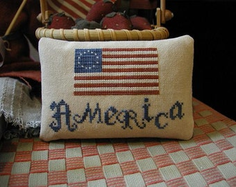 Primitive Cross Stitch Pattern AMERICA Pinkeep