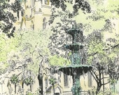 Reserved for Clare - Savannah Lafayette Square Fountain -  Watercolor Art Prints