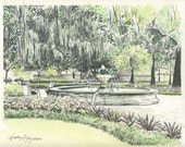 Savannah Watercolor Painting - Orleans Square Fountain