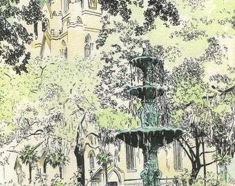 Savannah Lafayette Square Fountain -  Watercolor Art Print