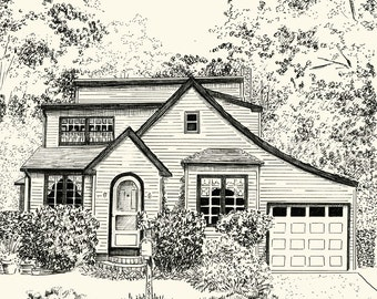 Custom Pen and Ink Architectural Sketch of your House or Home - 8x10 or 11x14 inches