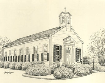 Custom Wedding Venue Pen and Ink Drawing