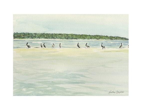 Pelicans at the Bar a Watercolor Print of Coastal Georgia