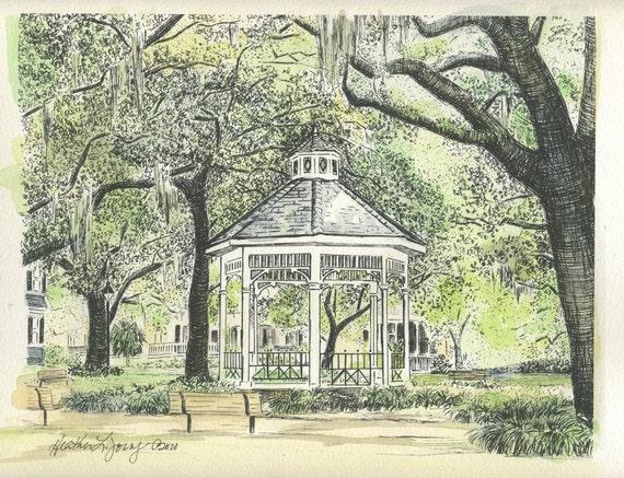Whitefield Square Savannah Wedding Gazebo - Hand Watercolored Print
