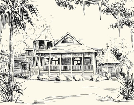Custom Black and White Architectural Drawing of Your Home or Garden