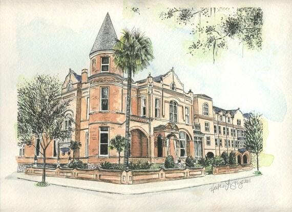 The Mansion on Forsyth Park Savannah Watercolor Print Drawing