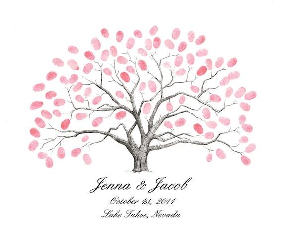 Thumbprint Tree Wedding Guest Book Alternative Medium Live Oak Tree with Birds