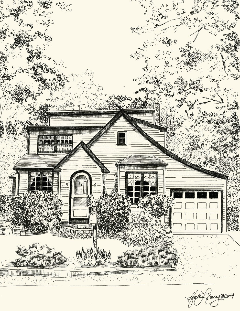 Custom pen and ink architectural sketch of your house or home for House sketches from photos