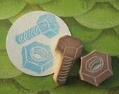 Hand Carved Nut and Bolt Stamp Set