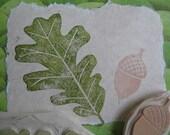 Oak Leaf and Acorn Rubber Stamp Set Hand Carved
