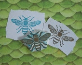 Honey Bee Rubber Stamp Hand Carved