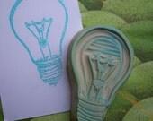 Light Bulb Rubber Stamp Hand Carved