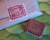 Mushroom Stamp Hand Carved Rubber Stamp