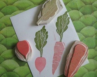 Radish and Carrot Stamp Set Hand Carved