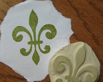 Fleur de Lis  Rubber Stamp hand carved