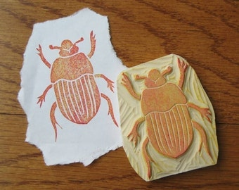 Hand Carved Beetle Stamp