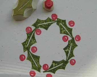 Holly Leaf and Berry rubber Stamp Set Hand Carved