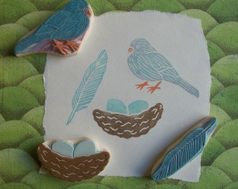 Feathered Friend Rubber Stamp Set Hand Carved
