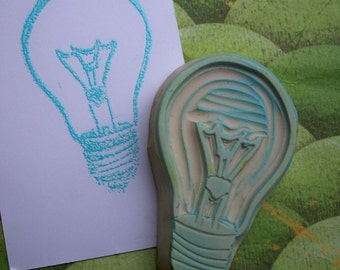 Light Bulb Rubber Stamp Hand Carved