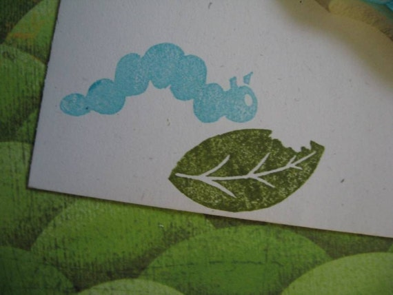 Hand Carved Caterpillar and Leaf Stamp Set