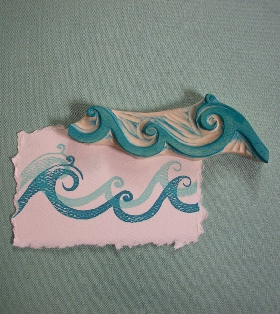 Ocean waves rubber stamp hand carved