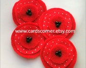 4 Red felt and fabric poppies
