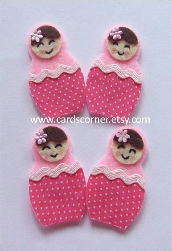 Pink Felt and fabric Babushka dolls (polkadots)