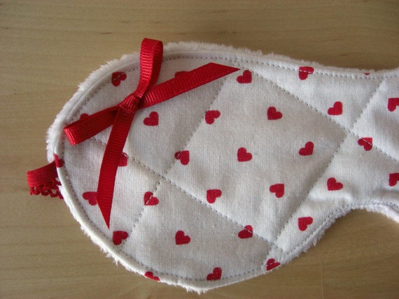 Heart Sleep Mask with Bow - Red and White