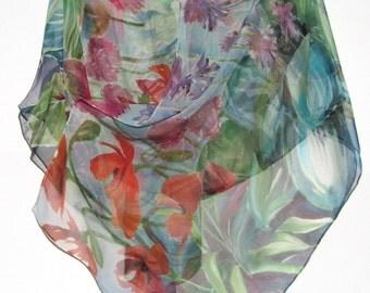 PERENNIAL GARDEN Silk Wrap Original Hand Painted Floral Flowers Daisy Botanical Silk Shawl Silk Scarf  Silk Siren SilkSiren.com  Lynn Meek