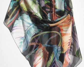 BANANA LEAVES Silk Wrap Colorful Giant Handpainted Foliage Bold Expressive Silk Scarf Silk Shawl Silk Siren SilkSiren.com Lynn Meek