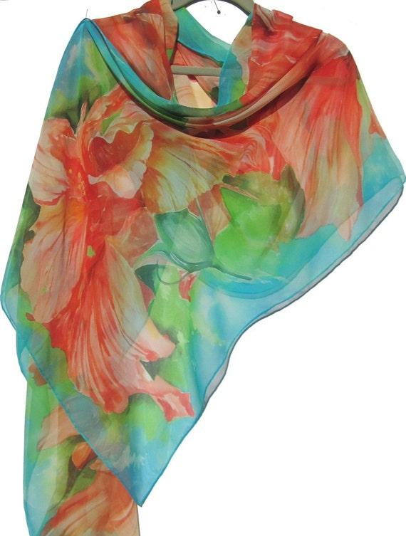 ORANGE HIBISCUS Silk Chiffon Wrap