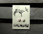 Ceramic Button Earrings - Soft Pink