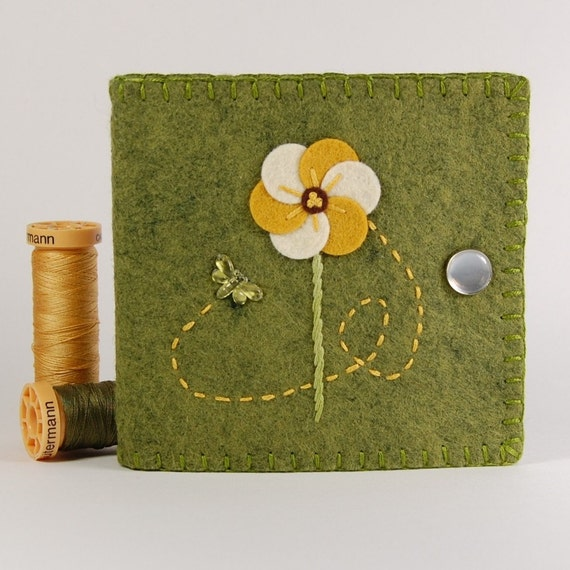 Embroidered felt needle book gold flower with by thebluedaisy