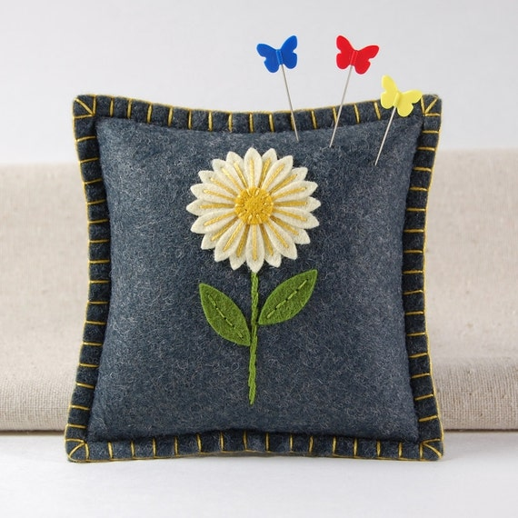 Felt Pincushion  - Ivory Daisy Flower Hand Embroidered on Gray