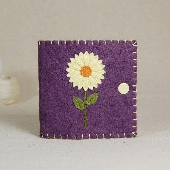 Wool Felt Needle Book / Needle Case - Yellow Daisy Flower Hand Embroidered on Purple