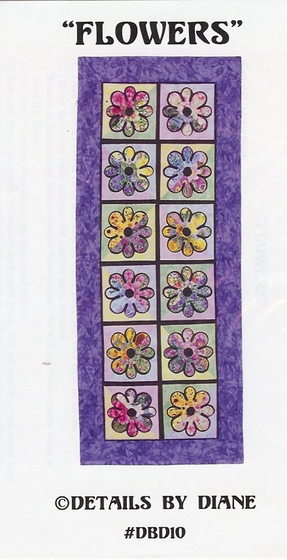 Flowers - Table Runner or Wall Quilt Pattern - Easy & Fun