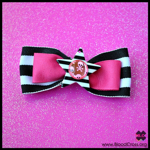 Black White and Pink Skull Bow