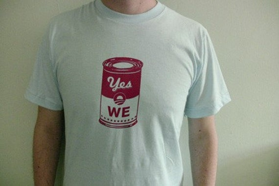 Yes We CAN Obama Screen Printed T shirt