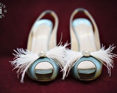 "Featured in Martha Stewart Weddings-Feathers&Frills ""Bow"" rhinestone/pearl and ostrich feather Shoe Adornments- custom made to order"